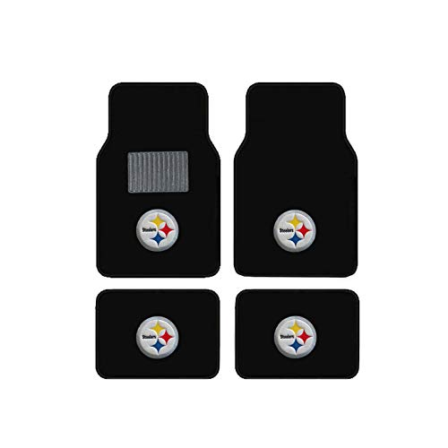 (Pittsburgh Steelers Embroidered Logo Carpet Floor Mats. Wow Logo on All 4 Mats.)