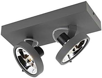 QAZQA Dise/ño Plaf/ón gris 3 luces LED 3 x 3 Watt GO Aluminio Rectangular//Redonda Adecuado para LED Max