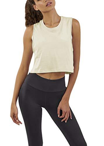 Bestisun Crop Yoga Top Workout Junior Girl Shirts Cute Summer Sleeveless Racerback Sport Gym Fitness Stretchy Tank Top Beige XL