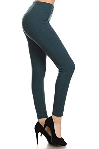 (EP128-3X5X-ForestTeal Basic Solid Leggings, 3X5X)