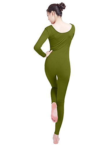 2920540ee7 Ensnovo Womens Spandex Bodysuit Long Sleeve Scoop Neckline Footless Unitard