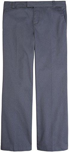 French Toast School Uniform Girls Adjustable Waist Flat Front Pants, Gray, ()