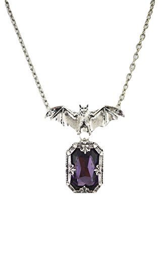 Restyle Gothic Vampire Night Whisper Bat and Purple Chunky Gemstone Pendant Necklace