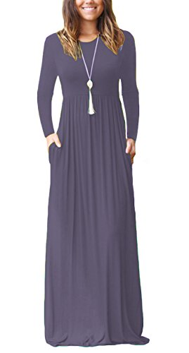 DEARCASE Women Long Sleeve Loose Plain Maxi Dresses Casual Long Dresses with Pockets Purple Gray XX-Large