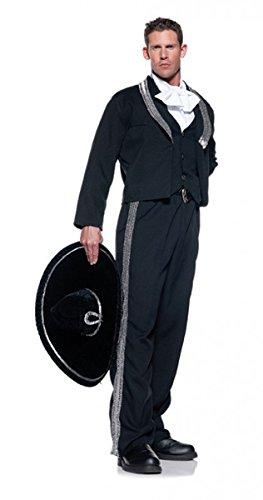[Men's Mariachi Costume, Black/Silver/White, One Size] (Mens Mariachi Halloween Costume)