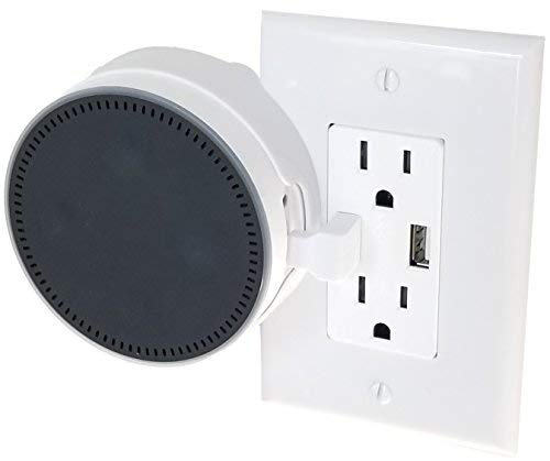 The USB Outlet Cover Plate for Dot 2nd Gen: The Simplest Custom Built-in Holder Mount for Dot Gen 2 - Great for Home and Business - by Dot Genie (White, 1-Pack)