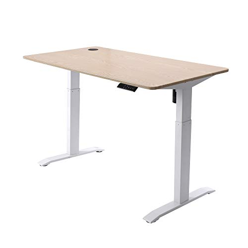 UNICOO-Electric-Height-Adjustable-Standing-Desk-Standing-Workstation-Home-Office-Sit-Stand-Up-Desk-with-4-Pre-Set-Memory-Display-Controller-Light-Oak-TopWhite-Legs-Electric-KT1001