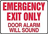 Accuform MEXT591VP Safety Sign, Emergency Exit Only - Door Alarm Will Sound, 7'' X 10'', Plastic