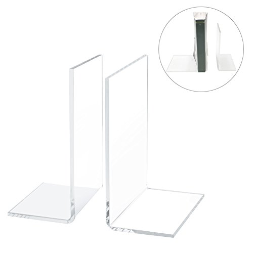 XIAOYU Elegant Stylish Clear Plastic Bookends 2pc Office Accessory (Large Image)