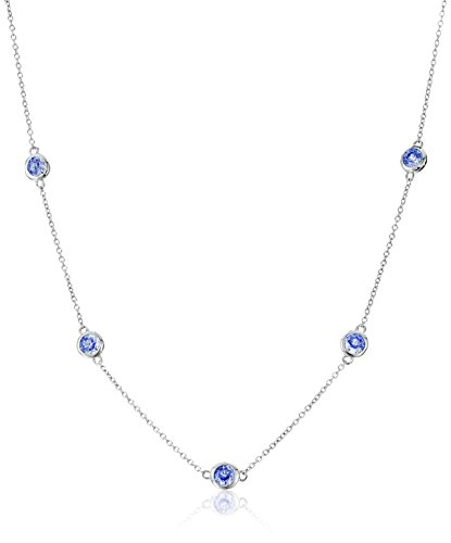 Platinum Plated Sterling Silver Station Necklace set with Artic Blue Round Cut Swarovski Zirconia (2.75 cttw)