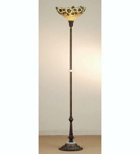 """Meyda Home Indoor Hallway Decorative Light 71""""H Wicker Sunflower Torchiere"""