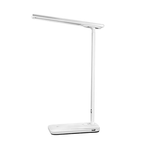 JYH LED Desk Lamp, Foldable Table Lamps with Dual USB Ports, Foldable and Step-Less Dimmable, Touch Control and Eye-Caring, White Light and Night-Light Mode