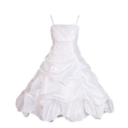 Dressy Daisy Girls' Rhinestone Taffeta Pick Up Dresses Wedding Flower Girl Pageant Dress Size 3-4T White