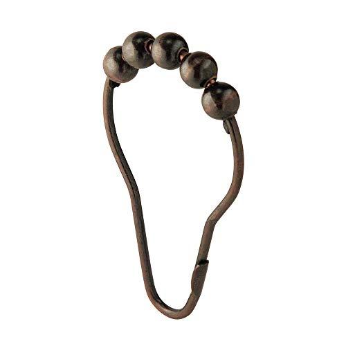 InterDesign Steel Roller Shower Curtain Rings – Decorative Hooks - Bronze, Set of 12