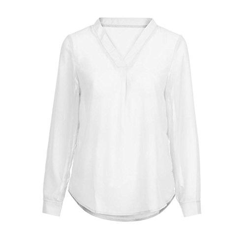 Donna in a con Camicetta ufficio Camicie Shirt Lunga Maniche Felpa T Top bianco Donna Casual Donna Primavera Pullover Elegante Breve Top Sysnant con Manica scollo chiffon Lunghe V da 6vqxE4w