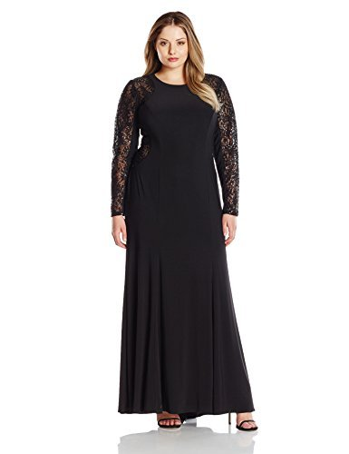 Xscape Women\'s Plus-Size ITY Dress with Sequin Lace Long-Sleeves