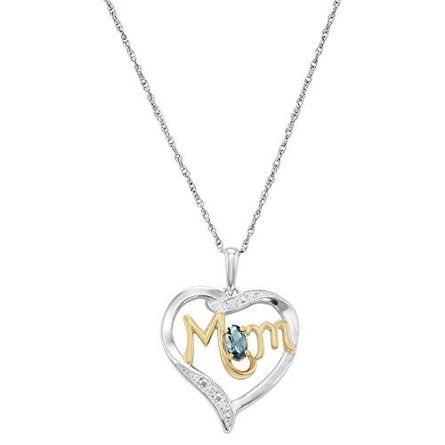 (ArtCarved Mom's Love Blue Zircon Birthstone Sterling Silver Pendant Necklace, 18)