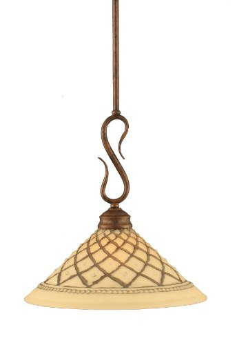 Toltec Chocolate Icing Glass - Toltec Lighting 20-BRZ-7182 Swan Mini-Pendant Light Bronze Finish with Chocolate Icing Glass, 12-Inch