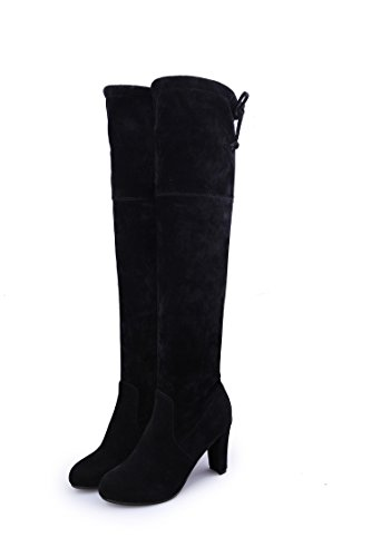 CXQ-Boots qin&X Women's Rough High heel High Over The Knee Long Boots Shoes Black oqNY6iPed1