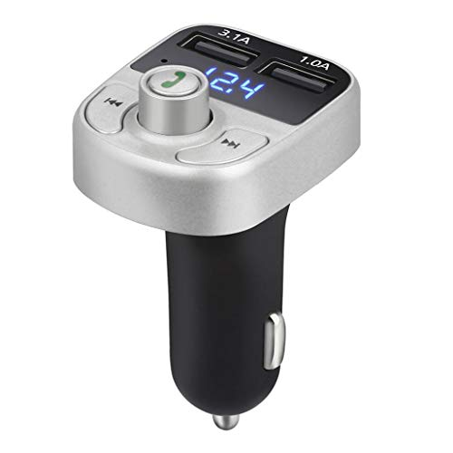 Weite Bluetooth FM Transmitter, Wireless Radio Adapter Car Kit, Universal Car Charger Dual USB Charging Ports, Hands-Free Calls, Dual USB Ports, Music Playing via Bluetooth, U Disk TF Card (Wireless Crystal Touchpad)