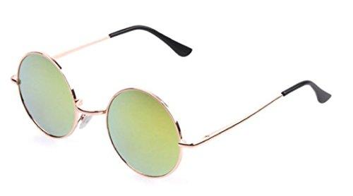 ShonanM Lennon Style Round Retro Sunglasses (Gold, Yellow) (Large Lennon Style Sunglasses)