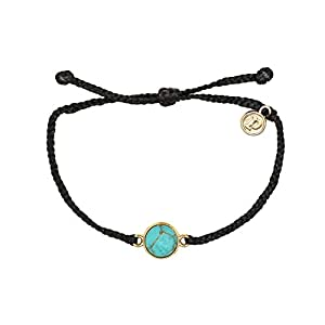 Pura Vida Rose Gold/Gold Riviera Stone Bezel Braided Bracelet Plated Charm Adjustable Band Waterproof