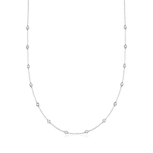 Ross-Simons 0.50-1.00 ct. t.w. Bezel-Set Diamond Station Necklace in 14kt White Gold