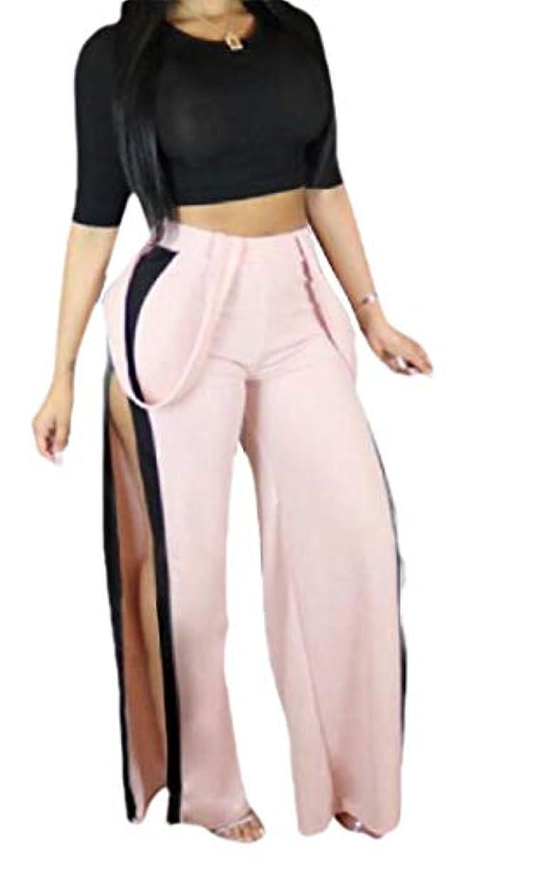 マティス手面Keaac 女性の2ピースセクシー衣装半袖作物トップスリットロングワイド脚パンツジャンパースーツ