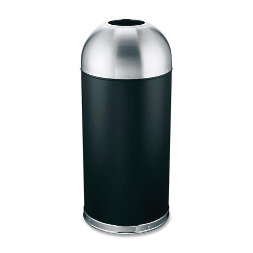 Genuine Joe Trash Receptacle, Domed Top, 15 Gal., Black/Silver(Pack Of 1)
