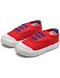 Red Baby Sports Classic Canvas Baby boy and Girl Shoes with Blue Laces