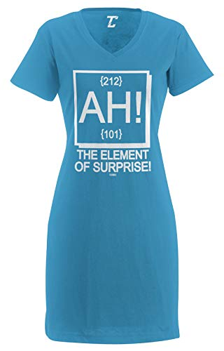 AH! The Element of Surprise - Science Geek Women's Nightshirt (Light Blue, Small/Medium)