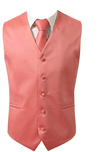 Brand Q 3pc Men's Dress Vest Necktie Pocket Square Set For Suit or Tuxedo