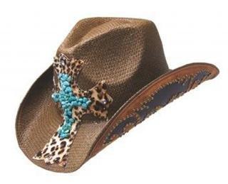 [Peter Grimm Ltd Women's Zeke Leopard Print Cross Straw Cowgirl Hat Brown One Size] (Leopard Cowboy Hat)
