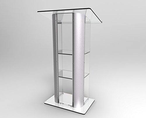 FixtureDisplays Clear Acrylic Plexiglass Podium Curved Brushed Stainless Steel Sides Pulpit Lectern (Steel Lectern)