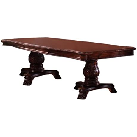 Furniture Of America Victoire French Style Formal Pedestal Dining Table With 2 20 Inch Leaves Antique Cherry Finish