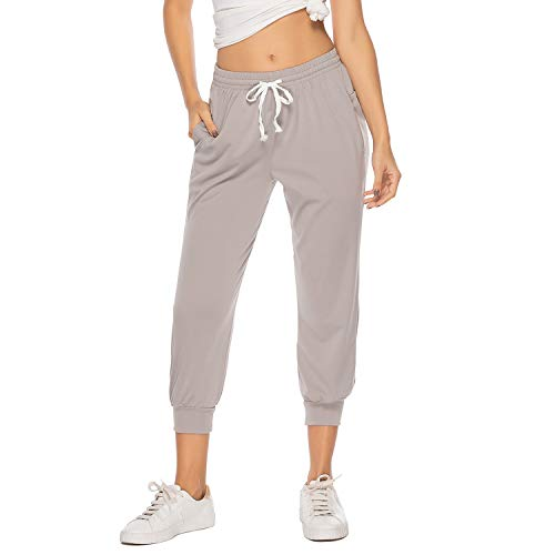 FITTOO Women's Sweatpants Cropped Jogger Pants Side Pockets Lounge Capri with Drawstring Grey L ()