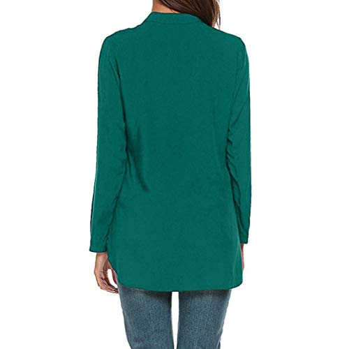V LULIKA Shirts Pure Loose Casual Blouse Vert Fashion Color Tops Longues Manches Cou Womens aE0qxvrwPa