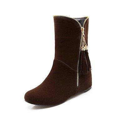 Comfort mujer para UK3 5 de Novedad borla Office EU36 Nubuck Calf Zipper Bootie de Mid botas Cuero amp;Amp; primavera CN35 Boots Toe cuña otoño de tacón 5 Zapatos RTRY US5 señaló 8WEqfBx