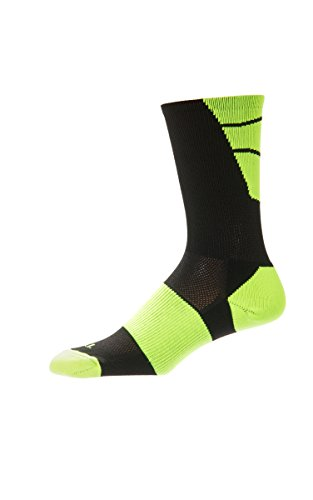 CSI Point Guard Performance Crew Socks Made In The USA Black/Neon Yellow