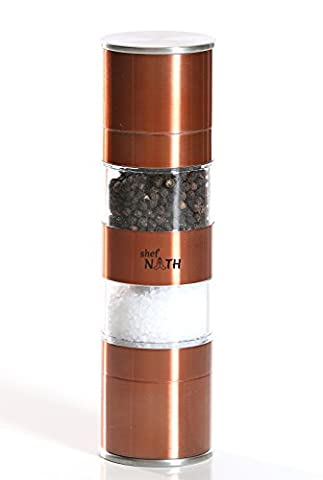 2 in 1 Stainless Steel Salt and Pepper Grinder in Copper Color with Adjustable Ceramic Rotor for Fine or Coarse Spices - Salt & Pepper Grinder Set by Shef - Tube Pumpkin Pepper