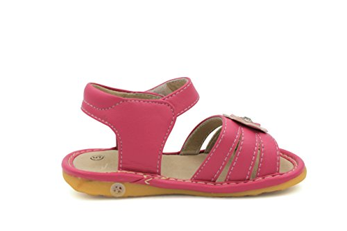 Little Mae's Boutique Hot Pink With Crystal Flower Girl Squeaky Sandals Shoes (8) by Little Mae's Boutique (Image #2)