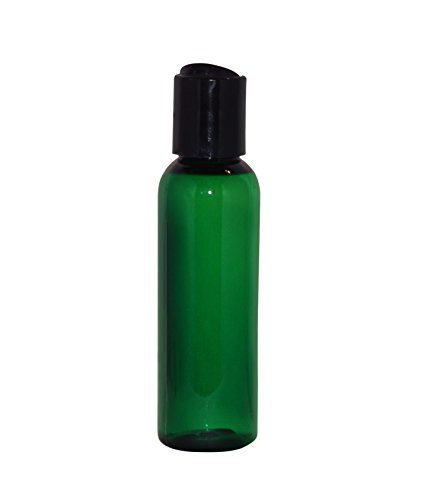 (WM (Bulk Pack of 24) 2 oz Travel Refillable, Empty PET Plastic Bottles w/Black Press Disc Top - Mfg. USA. DIY travel, hydration, aromatherapy, arts & crafts, and more (Green))