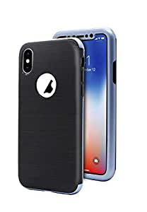 Margoun 360 Full Protection Silicone Case Cover with Glass Screen Protector for iPhone X in Blue
