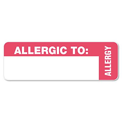(Medical Labels for Allergy Warnings, 1 x 3, White, 500/Roll)