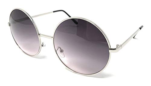 WebDeals - Hippie Retro Super Large Oversized Metal Round Circle Sunglasses... (Silver, Plum to Pink)