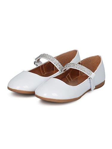 Indulge Grace-01 Girls Round Toe Rhinestone Mary Jane Ballet Flat HC74 - White Patent (Size: Little Kid 11) by Indulge (Image #4)