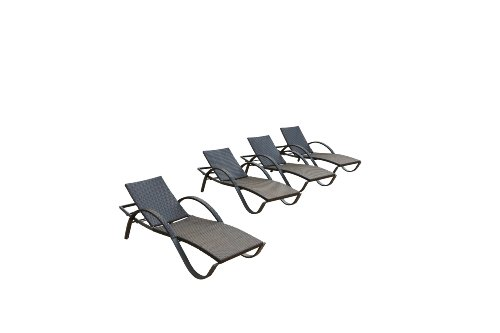RST Brands Deco Chaise Lounge 4-Pack Patio Furniture