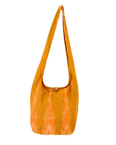 (Peacock Feather Print Crossbody Sling Bag (Dijon)