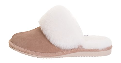 Rusnak Womens Sheepskin Leather Mule Slippers House Shoes/Warm Wool Lining P01 Beige/White nYUqAO5dMM