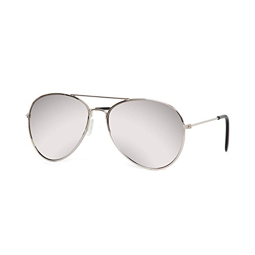 Gravity Shades Aviator Mirrored Lens Curved Sunglasses, Silver